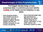 disadvantages of sole proprietorships