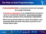 the role of sole proprietorships