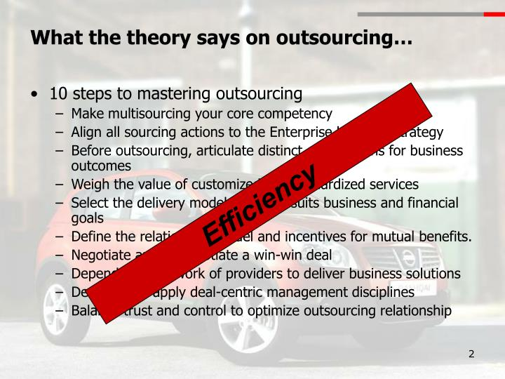 outsourcing theory The studying of the outsourcing phenomenon has been grounded in many  theories some of them are complementary, the other are contradictory this  creates.