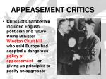 appeasement critics