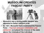 mussolini creates fascist party