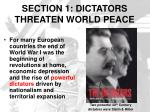 section 1 dictators threaten world peace