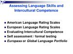 assessing language skills and intercultural competence