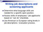 writing job descriptions and screening applicants
