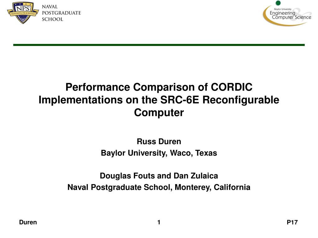 performance comparison of cordic implementations on the src 6e reconfigurable computer l.