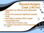 hayward rodgers creek 140 km
