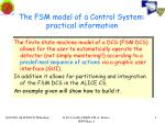 the fsm model of a control system practical information