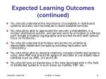 expected learning outcomes continued