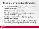 important overloading reminders