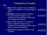 categories of quality