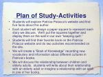 plan of study activities