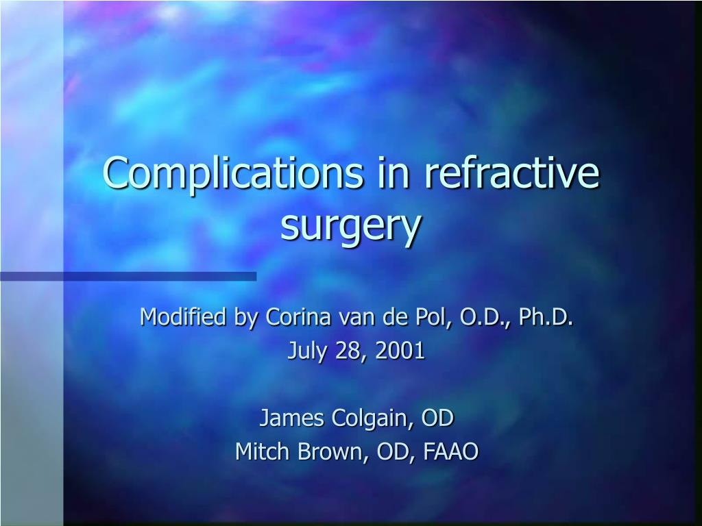complications in refractive surgery l.