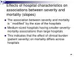 effects of hospital characteristics on associations between severity and mortality slopes