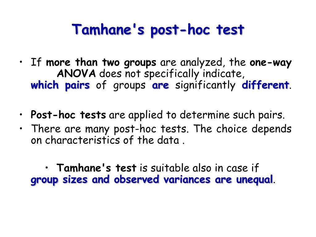 tamhane s post hoc test l.