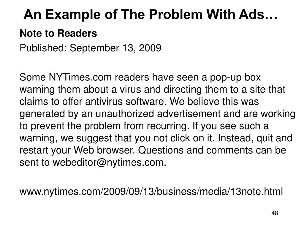 An Example of The Problem With Ads…