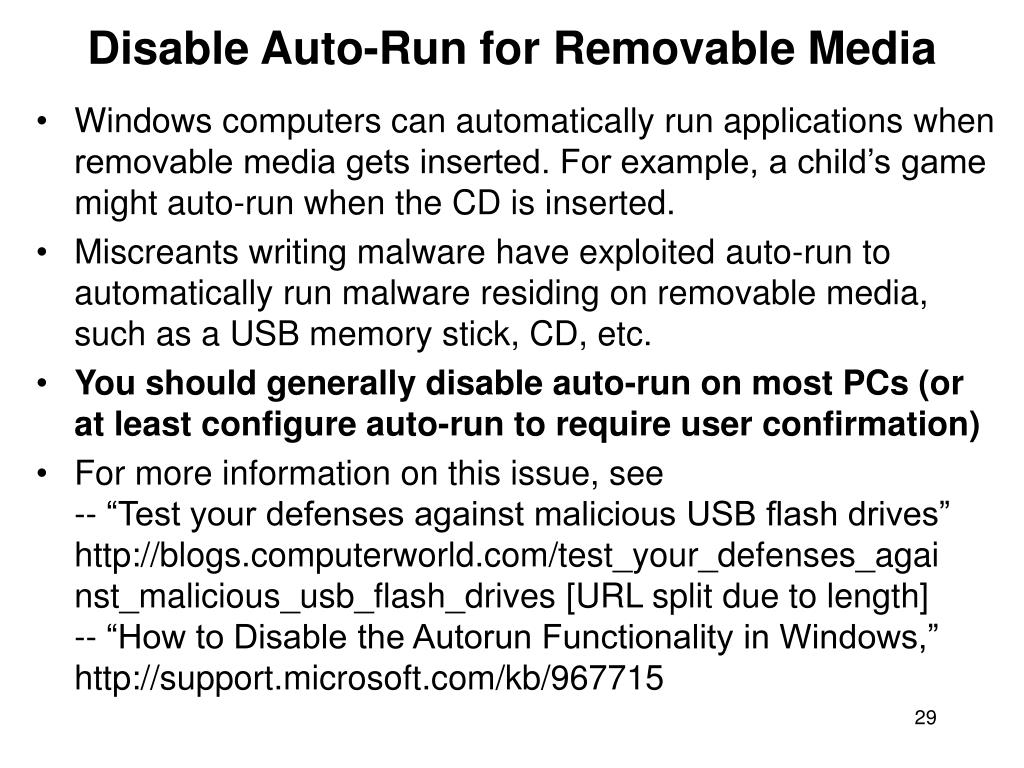 Disable Auto-Run for Removable Media
