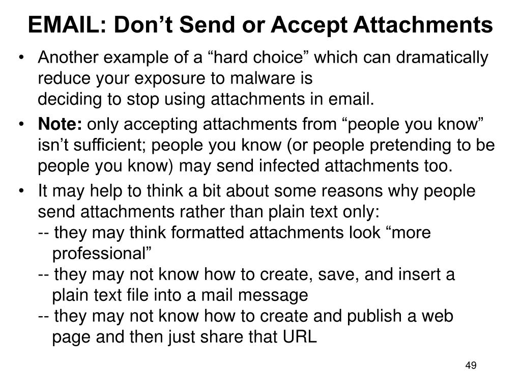 EMAIL: Don't Send or Accept Attachments