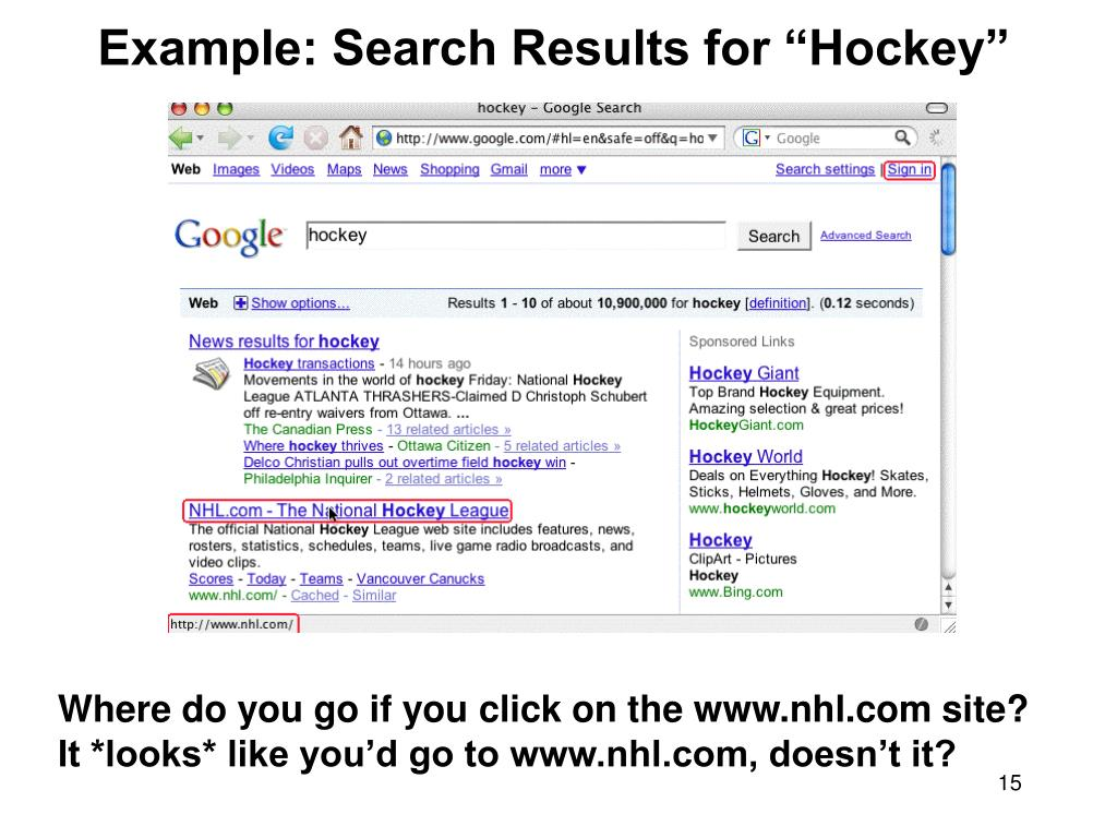 "Example: Search Results for ""Hockey"""