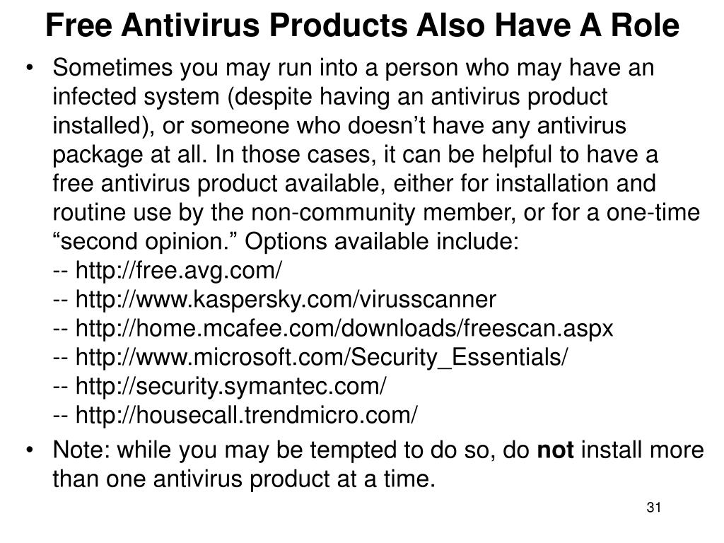 Free Antivirus Products Also Have A Role