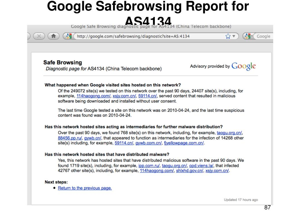 Google Safebrowsing Report for AS4134