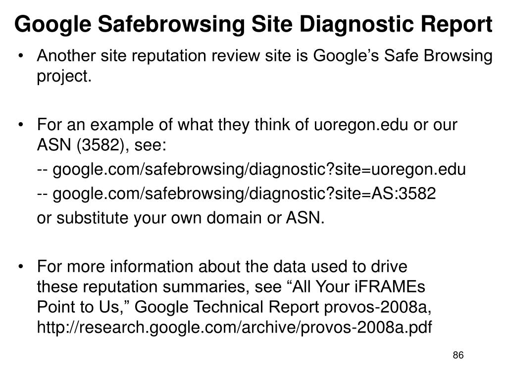 Google Safebrowsing Site Diagnostic Report