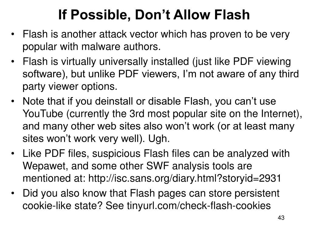 If Possible, Don't Allow Flash