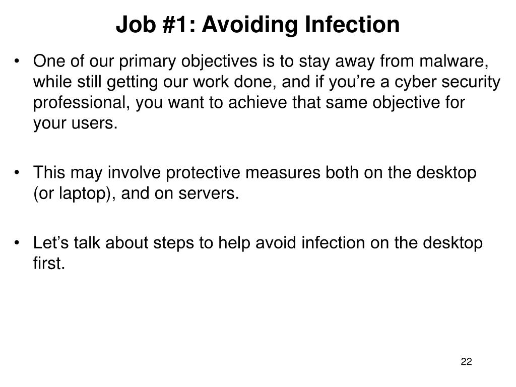 Job #1: Avoiding Infection