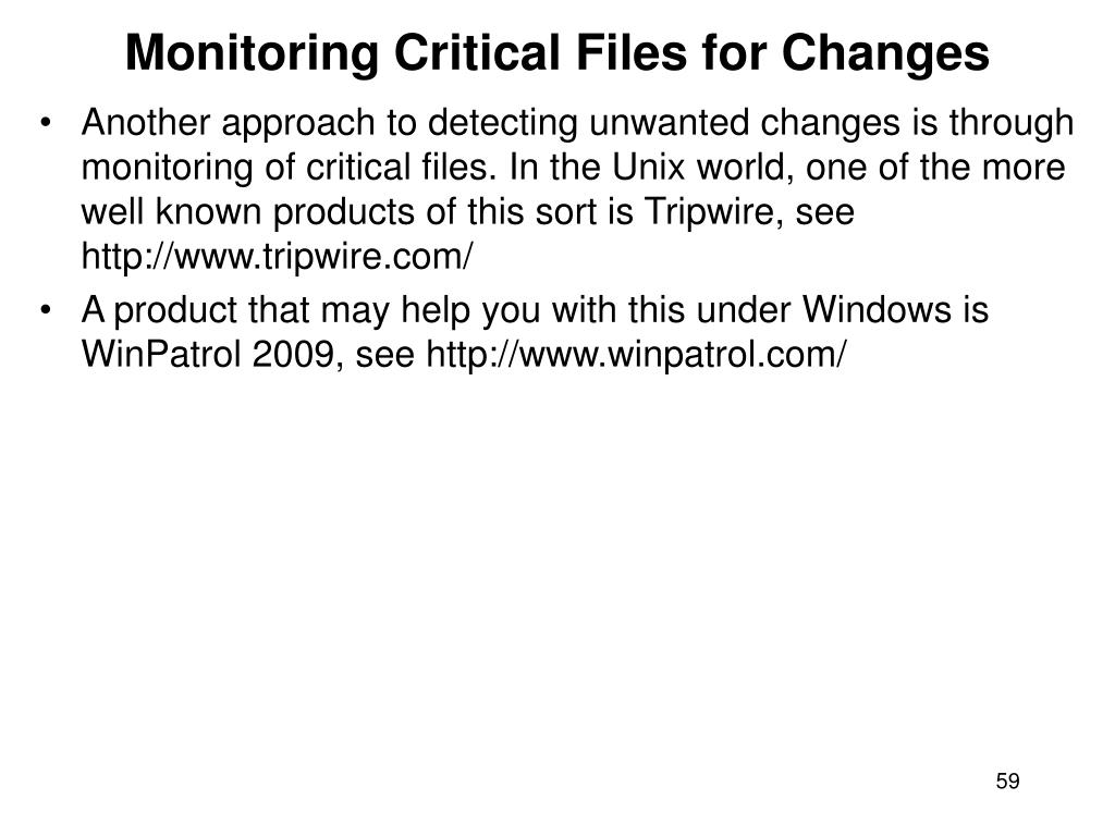 Monitoring Critical Files for Changes