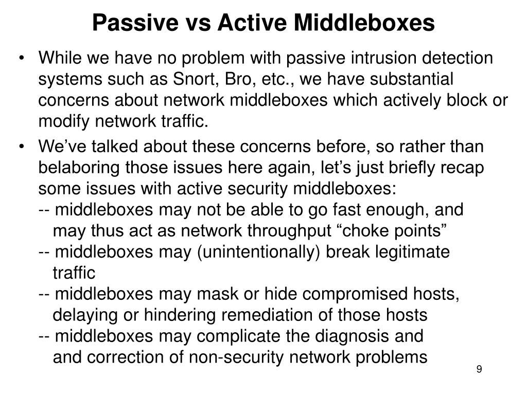 Passive vs Active Middleboxes