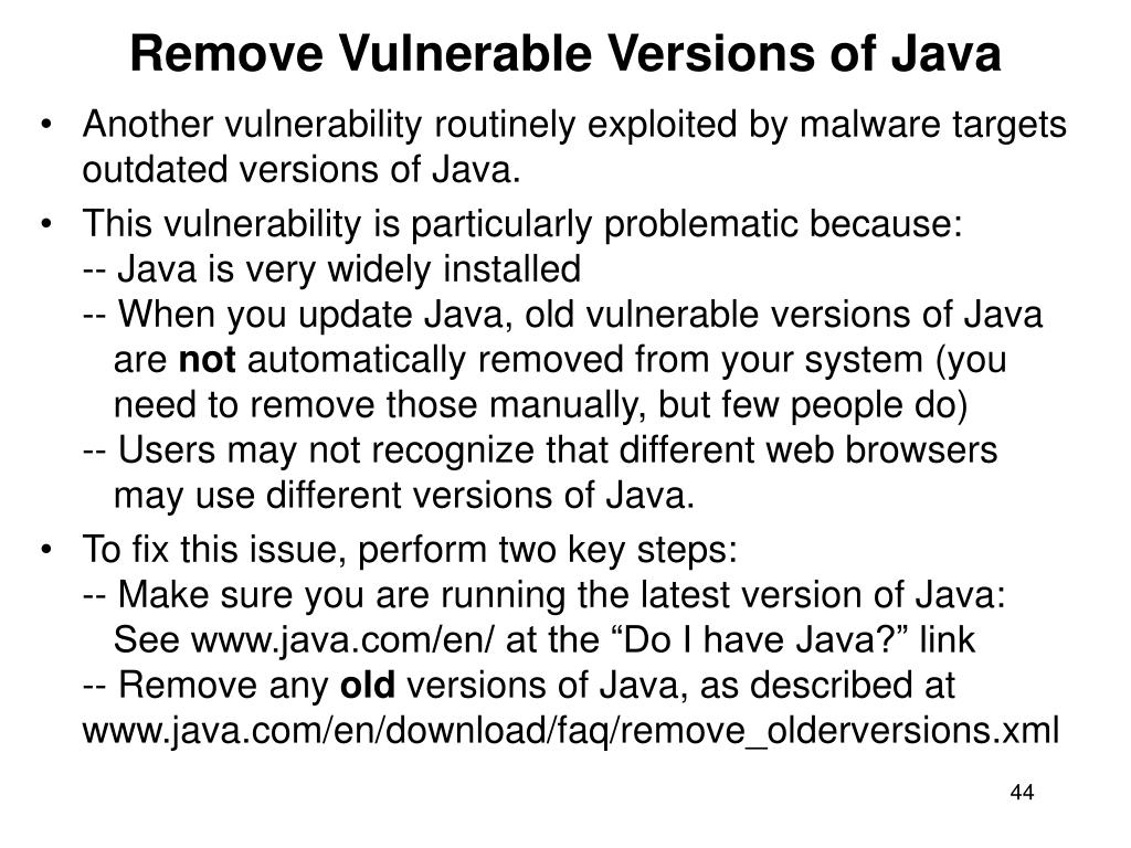 Remove Vulnerable Versions of Java