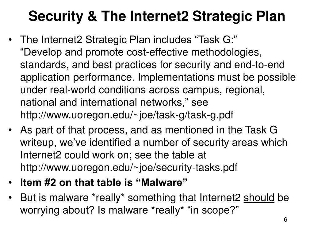Security & The Internet2 Strategic Plan