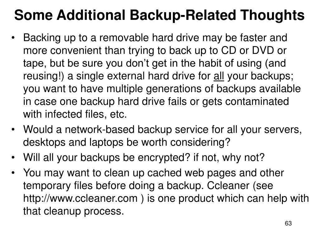 Some Additional Backup-Related Thoughts