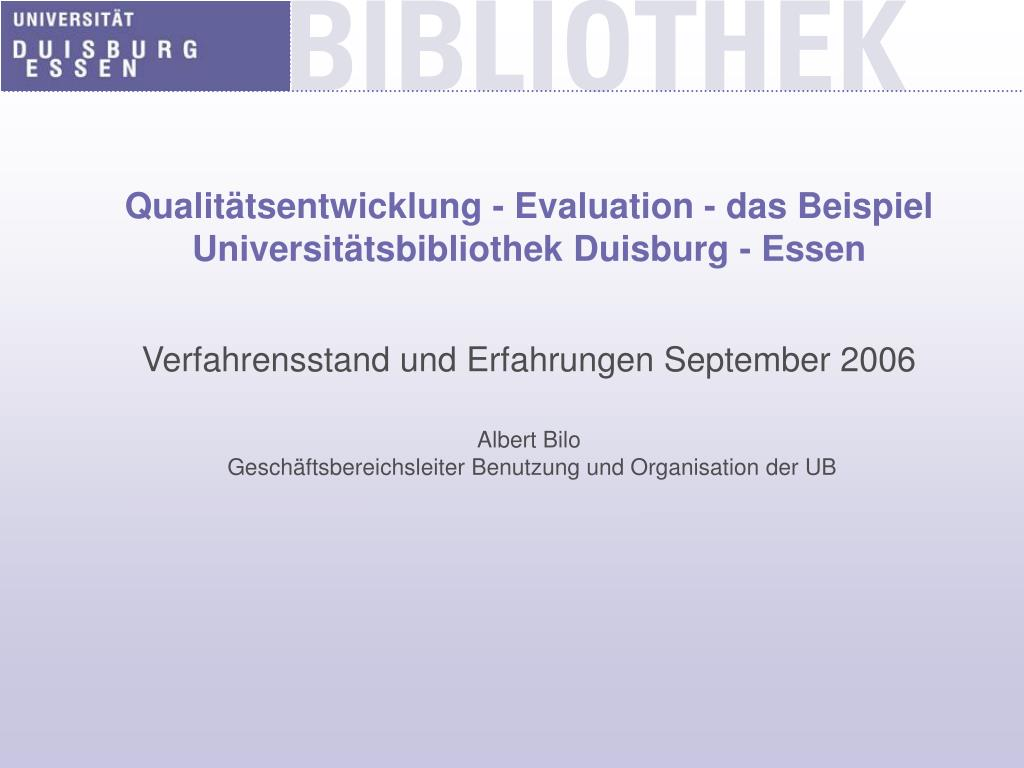 qualit tsentwicklung evaluation das beispiel universit tsbibliothek duisburg essen l.