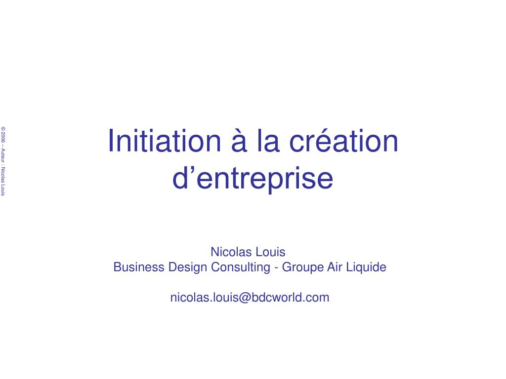 initiation la cr ation d entreprise l.