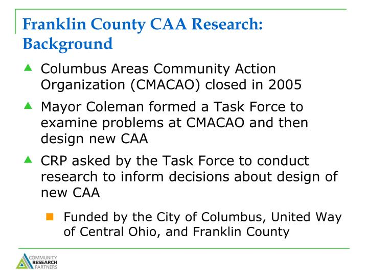 Franklin county caa research background