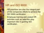 hr and iso 9000
