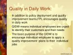 quality in daily work