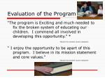 evaluation of the program
