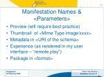 manifestation names parameters