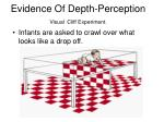 evidence of depth perception visual cliff experiment