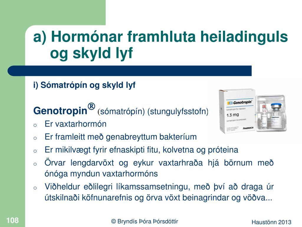a) Hormónar framhluta heiladinguls