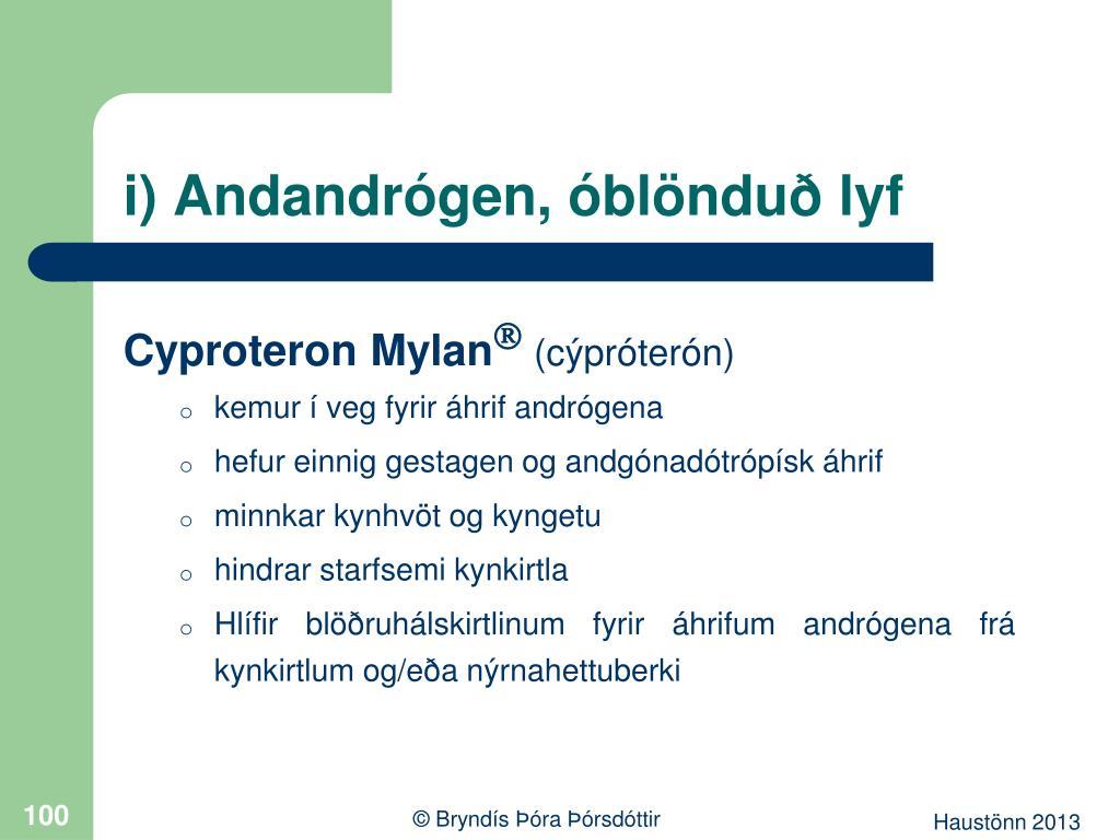 i) Andandrógen, óblönduð lyf