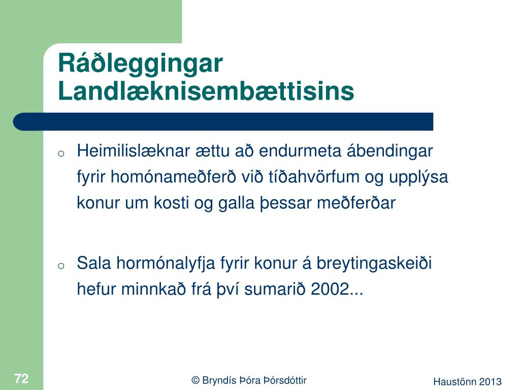 Ráðleggingar Landlæknisembættisins