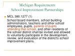 michigan requirements school improvement partnerships