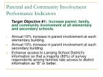 parental and community involvement performance indicators