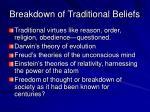 breakdown of traditional beliefs