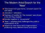 the modern artist search for the new