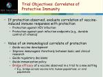 trial objectives correlates of protective immunity