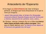 antecedents de l esperanto