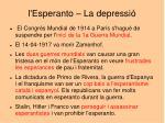 l esperanto la depressi
